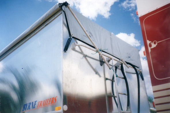 48' Mesh Transfer Trailer Roll Tarp, BUNGEE STYLE FRONT Flaps