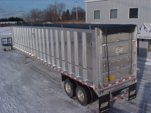 50' Mesh Transfer Trailer Roll Tarp, RATCHET STYLE REAR Flaps