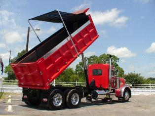 Polished Aluminum Electric Dump Truck Tarp system, 3 spring external mount, body lengths from 10'-16